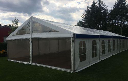 10m Zelt mit transparenter Giebelfront