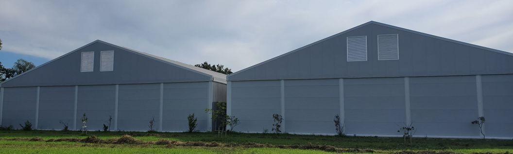 vollisolierte Lagerzelte je 25 x 48 m