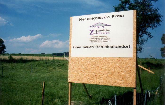Heinrichs Zeltdesign 1996 mit dem Firmenstandort in Linz